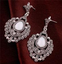 New White Rhinestone Teardrop Ear Jewelry Tibet Silver Flower Leaf Stud Earrings
