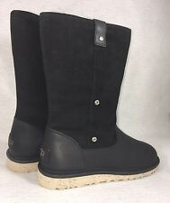 Ugg Australia Womens Malindi Boots Size 7 Black Style 1007121 Leather Shearling