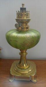 ancienne lampe petrole bronze reservoir verre legras ? oil lamp