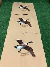 Maynard Reece Canada Goose Geese Fabric squares 3 pcs. Signed ??  cabin Crafts