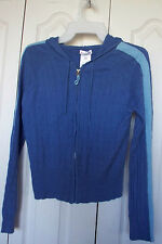 NWT L 11 13 CABLE KNIT Sweater ZIPPER HOODIE  No Boundaries 2 Tone Blue Stripe