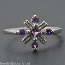 Solid 925 Sterling Silver Natural Amethyst Gemstone Ring Women's Gift Jewelry UK
