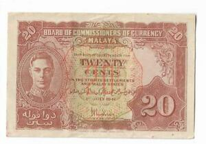 Straits Settlements 20 Cents 1941 King George VI Singapore Malaya Govt Banknote