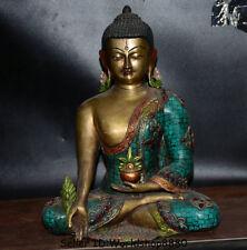 "12.8""Old Tibet Buddhism Bronze Gilt Turquoise Menla Medicine Buddha Robe Statue"