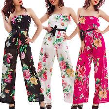 Overall donna tuta intera jumpsuit elegante pantaloni fiori bandeau VB-8717