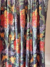 "Pair of satin glaze cotton floral curtains fully lined & pelmet ~ 86""L x 78""W ea"