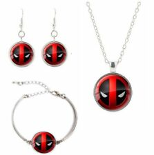 Marvel Comics Deadpool Logo Glass Domed Necklace, Earrings, Bracelet Set