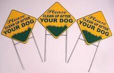 3 Please Clean Up After Your Dog 10X10 Plastic Coroplast Signs w/Stake Diamond y