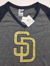 Women's L Large San Diego Padres MLB Baseball Genuine Gray V-Neck T-Shirt NWT