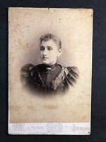 Victorian Photo: Cabinet Card: Lady Strong Nose: Saecca? Overseas Studio