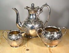 Antico Vittoriano INCISI silver plate EPBM Caffè Set-WM. Hutton SHEFFIELD
