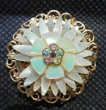 BROCHE ANCIENNE POMPONNE FILIGRANÉE NACRE STRASS ANTIQUE FRENCH BROOCH DN1466