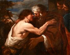 17th CENTURY FLEMISH OLD MASTER OIL ON CANVAS - THE RETURN OF THE PRODIGAL SON
