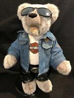 Rare Franklin Mint Heirloom Harley Davidson Bike Hard Live Free Bear on Stand