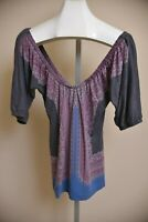 Free People Gray Purple Off the Shoulder Blouse Shirt Top Women's size S