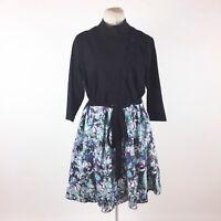Eshakti Blue Floral Dress Plus 1X Color Block Black Fit & Flare Mixed Materials