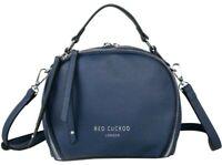 Round Grab Bag Navy Blue Red Cuckoo Small Top Handle Crossbody Shoulder Bag