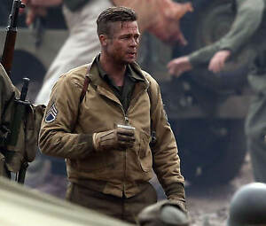 Fury Brad Pitt Tanker WW2 Khaki Color Cotton Bomber Jacket