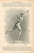 Sculpture Jeune Vainqueur au Combat de Coq par Falguière Sculpteur GRAVURE 1871