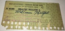 Rare American WWII War Department Tobacco Ration Card! Rome Army Airfield! NY!