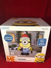 7.5 ft. Minion Stuart with Santa Hat Despicable Me Christmas Inflatable Holiday