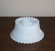 Milk Glass Candle Stick Holder - Rib & Beaded Design - Unmarked