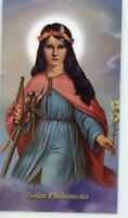St. Philomena - Prayer - Relic Laminated Holy Card - Blessed by Pope Francis
