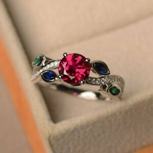 14k White Gold Plated Ruby Green Emerald and Sapphire Leaf Ring, Engagement Ring