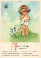 VINTAGE VIRGO PRETTY YOUNG GIRL with FLOWER GARLAND JUNGFRAU POSTCARD UNUSED
