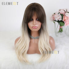 Black Brown to Platinum Blonde Wavy Hair Wigs for Women Long Synthetic Daily WIG