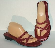MONTEGO BAY CLUB LEATHER COLLECTION – SANDALS – RED STRAPPY FLATS – SIZE 9½ –EXC