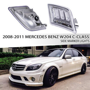 For 2008-2011 Mercedes Benz W204 C-Class LED Clear Bumper Side Marker Lights