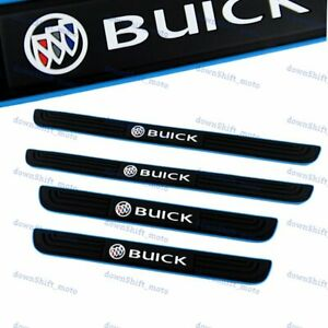 4PCS Blue Border Rubber Car Door Scuff Sill Cover Panel Step Protector For Buick