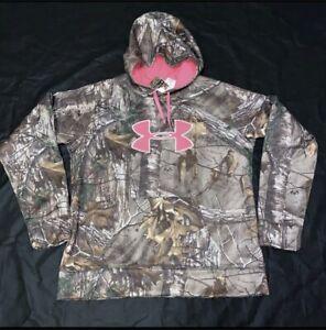 Under Armour Big Logo Hoodie Sweatshirt RealTree Camo Pink Women's Sz Large New
