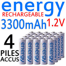 4 PILES ACCUS RECHARGEABLE AA ENERGY NI-MH 3300mAh 1.2V LR06 LR6 R06 R6 ACCU
