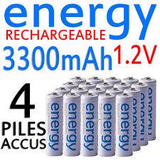 4 PILES ACCUS RECHARGEABLE AA ENERGY NI-MH 3300mAh 1.2V LR06 LR6 R06 R6 ACCU