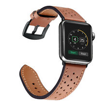 Breathable Genuine Leather Wrist Strap Watch Band for Apple Watch iWatch 4 3 2 1