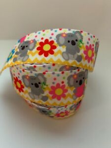 "Grosgrain Cute Koala with Flowers and Chevron Ribbon 1"" 25mm"