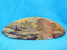 "Signed Acid Etched Russian Brass Wall Plaque 1992 4 3/4"" By 13"" Mountain Stream"