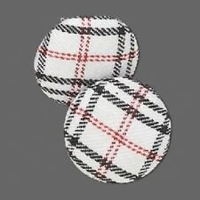 White Black and Red Tartan Plaid Retro Mod Fabric Button Earrings