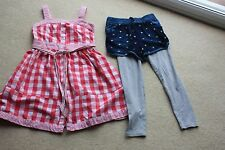 Pink checked strappy Dress Nutmeg blue shorts grey leggings age 6 to 7 years