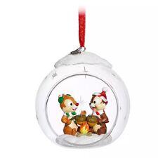 Disney Store 2019 CHIP 'N DALE Glass Globe Boxed Sketchbook Christmas Ornament