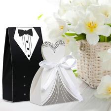 100Pcs Tuxedo&Dress Groom Brithday Wedding Party Favor Gift Ribbon Candy Boxes