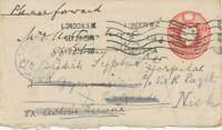 GB 1915 George V 1d red STO postal stationery env (soldiers rate) to NISH Serbia