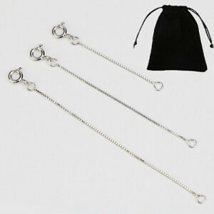 Solid S925 Sterling Silver Extension Box Chain Spring Clasp Necklace Extender