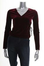 New Women's Self Esteem Juniors' Burgundy Tie-Side Glitter Top Sz XS