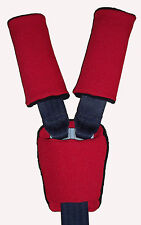 Baby Red Black Car Seat Pram Highchair Harness Cover Belt Pads x 3 - Padded