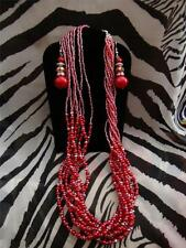J001 RED BEADED ENDLESS NECKLACE ADJUSTABLE CLASP & STAINLESS HOOK EARRINGS