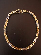 9CT WHITE & YELLOW GOLD FANCY LINK BRACELET MADE IN ITALY BRAND NEW IN BOX