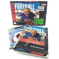 NO GAME John Madden Football (Super Nintendo) BOX & MANUAL ONLY snes blockbuster